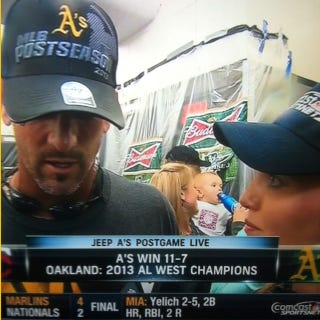 Illustration for article titled The A's Postgame Celebration Featured A Beer-Drinkin' Baby