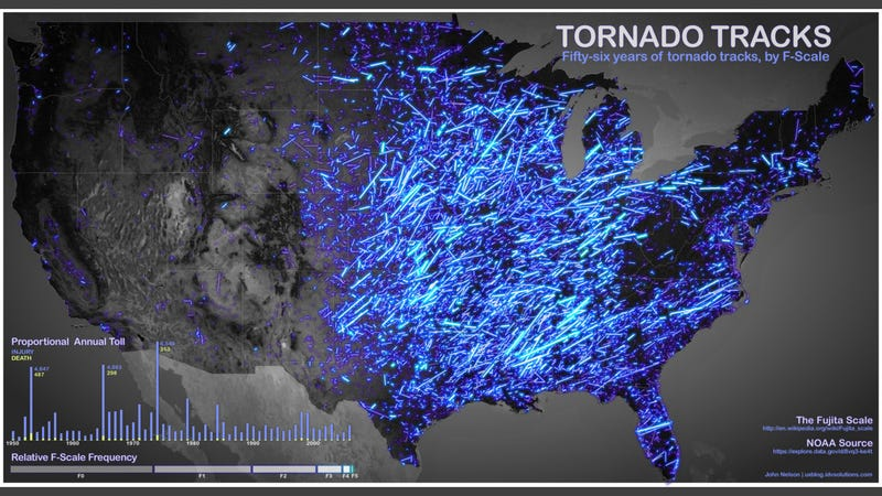 Illustration for article titled 56 Years of Deadly Tornados On One Gorgeous Map