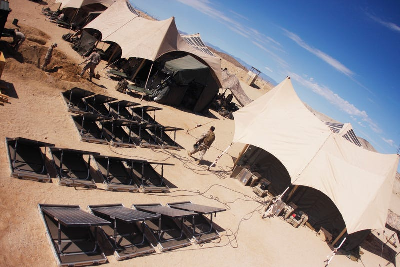Third Battalion, 5th Marine Regiment, based out of Marine Corps Base Camp Pendleton, Calif., is currently utilizing solar energy panels to help reduce the need for supplies in the field. Photo credit U.S. Marines