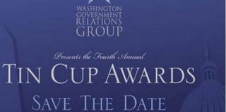Screenshot of the Washington Government Relation Groups' Fourth Annual Tin Cup Awards flyer