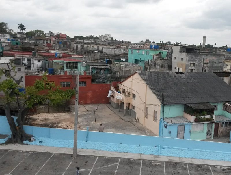 Photo ESPN's SportsCenter tweeted of the houses just outside a stadium in Havana (Twitter)