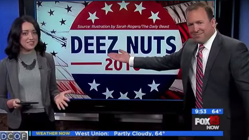 "Illustration for article titled Watch a supercut of newscasters reluctantly uttering ""Deez Nuts"""