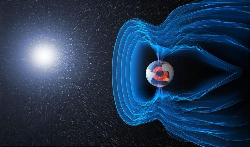 Representación gráfica de la interacción entre la magnetosfera y el viento solar. Imagen: ESA