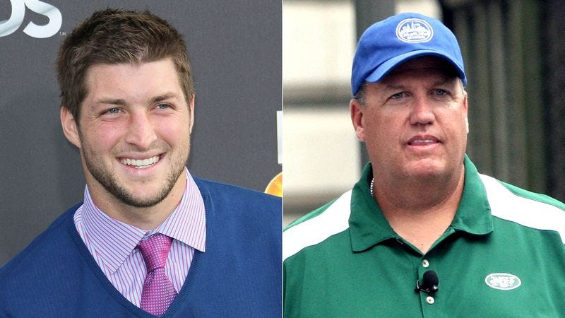 Illustration for article titled Tim Tebow Absolutely Horrified After First Phone Conversation With Rex Ryan