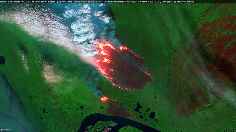 A wildfire burning near the Lena River in Siberia.