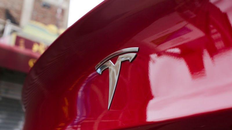 Tesla logo on a Model 3