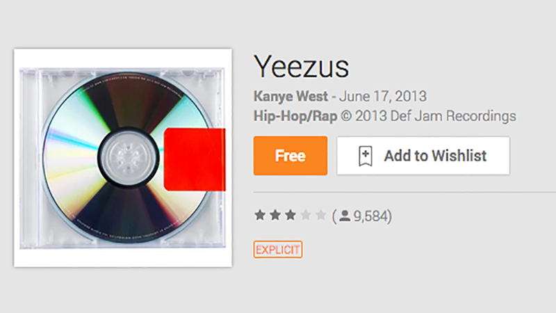 Illustration for article titled Google Play's Giving Away Yeezus And Much More For Free