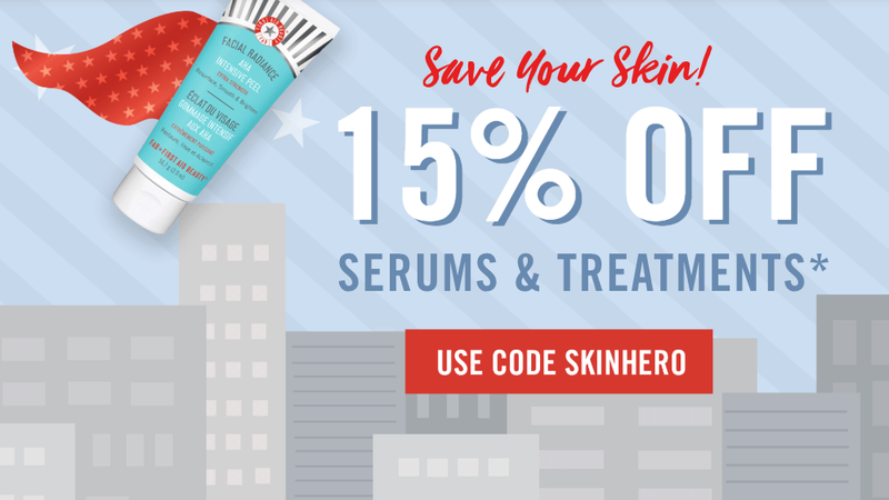 15% Off Serums and Treatments | First Aid Beauty | Promo code SKINHERO
