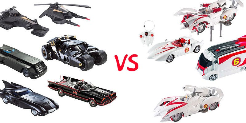 Illustration for article titled Speed Racer vs. Batmobile Zoomdown: Entire 2008 Toy Lineup Get Us All Revved Up