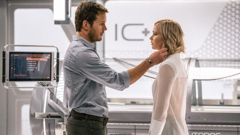 Aurora (Jennifer Lawrence) has the very bad luck to be on the same ship as Jim (Chris Pratt) in Passengers. Image: Columbia Pictures