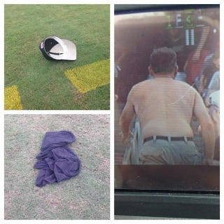 Illustration for article titled Exasperated Vanderbilt Fan Throws Shirt And Hat Onto Field During Game