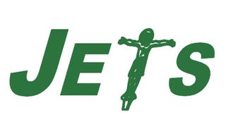 Illustration for article titled Darren Rovell Thinks This Jets Logo With A Crucified Jesus Christ Is Worth Your Attention