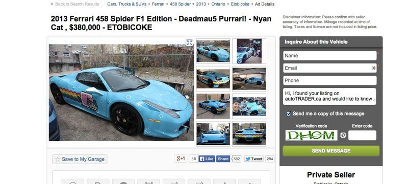 Illustration for article titled Craigslist Removed Deadmau5's $380,000 Purrari, Now It's On Autotrader
