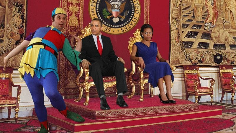 Motley humors the First Family with a slapstick routine burlesquing foreign intelligence agents.