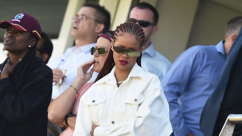 Rihanna watches during the Group Stage match of the ICC Cricket World Cup 2019 between Sri Lanka and West Indies on July 01, 2019 in Chester-le-Street, England.