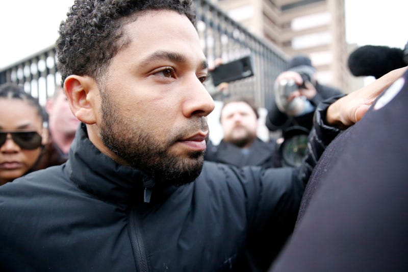 Empire actor Jussie Smollett leaves Cook County jail after posting bond on February 21, 2019 in Chicago, Illinois