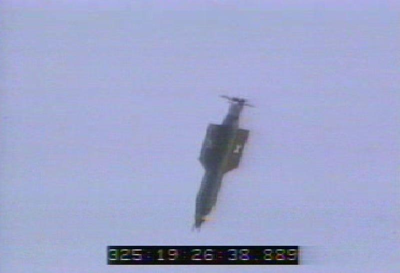 In this U.S. Air Force handout, a GBU-43/B bomb, or Massive Ordnance Air Blast bomb, is launched Nov. 21, 2003, at Eglin Air Force Base, Fla. (USAF via Getty Images)