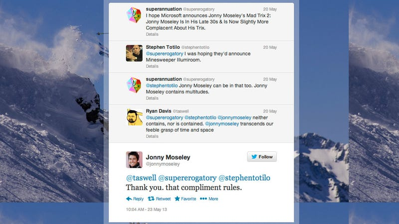 Illustration for article titled Great Moments in Tweeting With Jonny Moseley