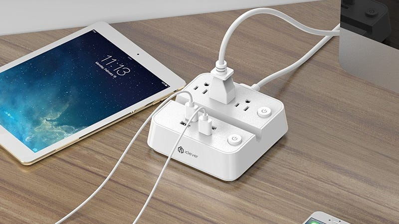 iClever BoostStrip Surge Protector With 4 USB Ports, $12 with code SURGEPOW
