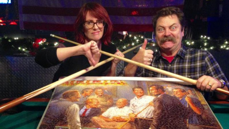 Illustration for article titled Nick Offerman and Megan Mullally must really love to do puzzles