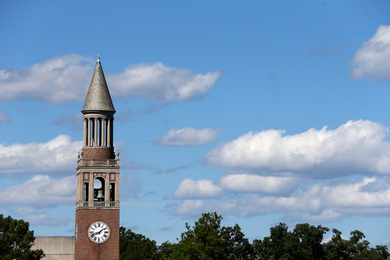 A general view of the Bell Tower on the campus on October 4, 2014 in Chapel Hill, North Carolina.