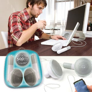 Illustration for article titled Gigantic 500x White iPod Earbuds Not a Joke