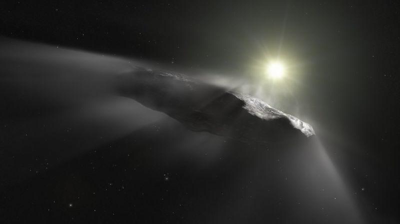 Representación artística de Oumuamua a su paso por el Sol