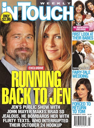 Illustration for article titled This Week In Tabloids: Brad Crashes Motorcycle Rushing To Jen; Celebs ♥ Nose Jobs