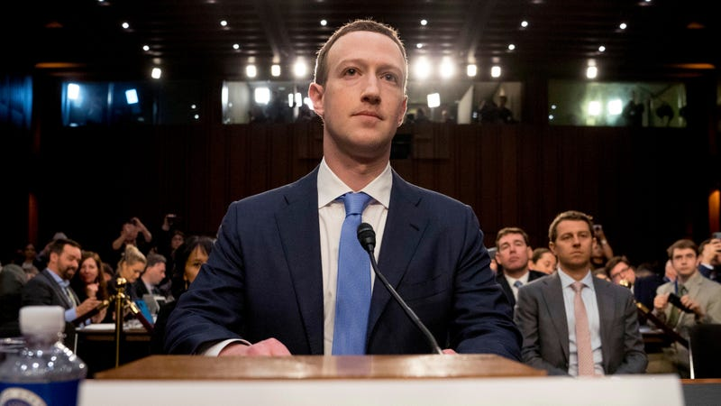 Mark Zuckerberg testifying before Congress in 2018.
