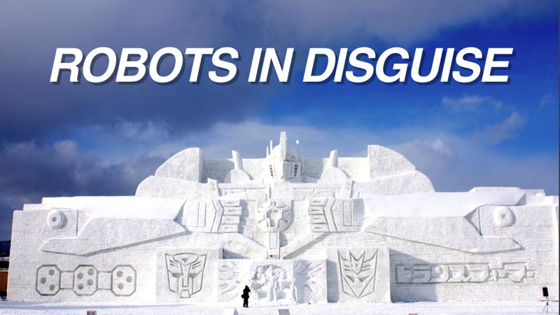 Illustration for article titled This Enormous Transformers Snow Sculpture Will Blow Your Mind