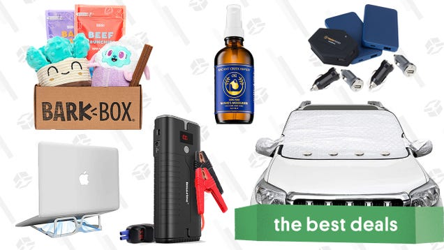 Sunday s Best Deals: BarkBox Subscription, Car Jump Starter, Portable Laptop Stand, Mophie Powerstation Charging Bundle, Windshield Snow Covers, and More