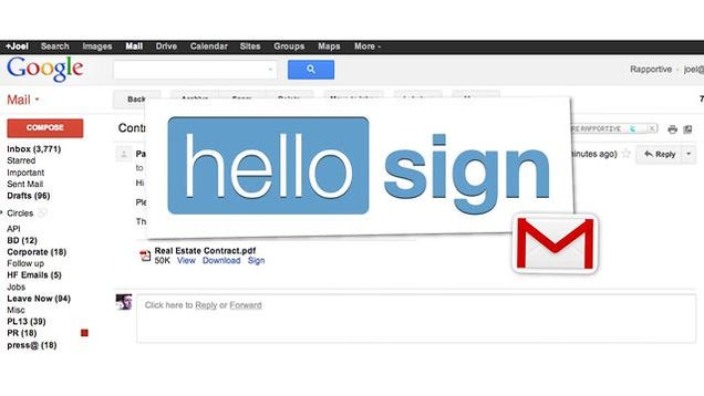 hellosign electronically signs documents right from gmail With sign documents gmail