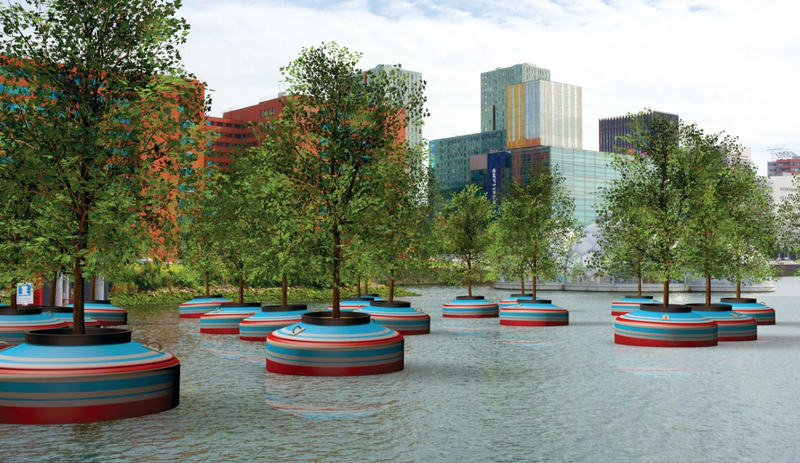 Illustration for article titled A Floating Forest Will Add Instant Greenery to Rotterdam's Harbor