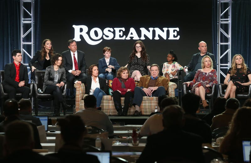 Cast members and executive producers of the television show Roseanne at the ABC Television/Disney portion of the 2018 Winter Television Critics Association Press Tour at the Langham Huntington, Pasadena, on Jan, 8, 2018, in Pasadena, Calif.