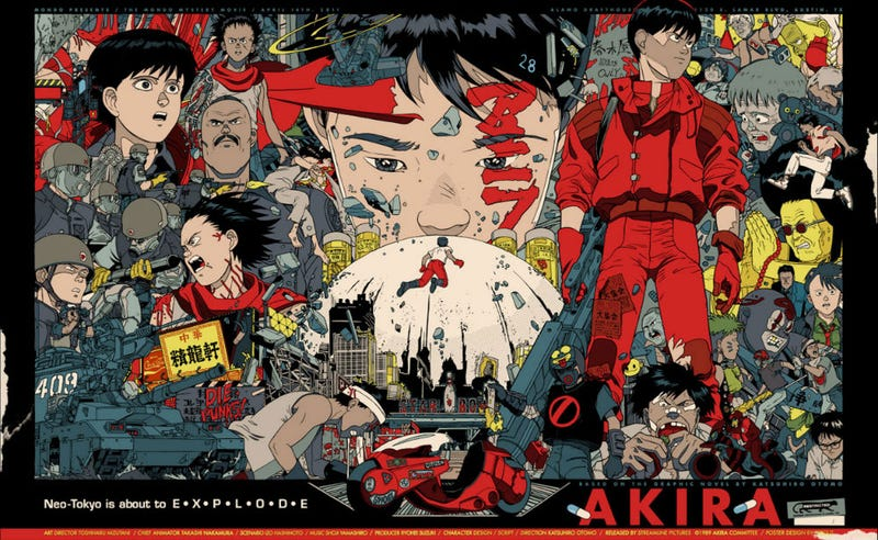 I can't write an Akira story without using this amazing poster by artist Tyler Stout. Image: Mondo