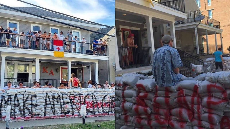 Illustration for article titled Tulane's KA Frat Builds Sandbag Wall Around House That Reads 'Make America Great Again'