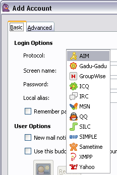 Pidgin instant-messaging client (Windows/Linux)