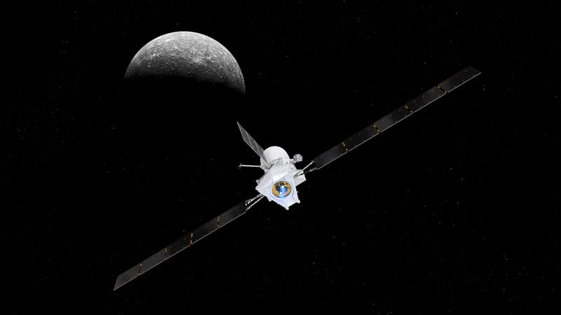 Artist's impression of BepiColombo arriving at Mercury