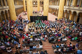 Campers gather on the floor of the National Building Museum in Washington, D.C., for their final performance with Summer Steps With Step Afrika! on Aug. 10, 2014.Fritz Photographics