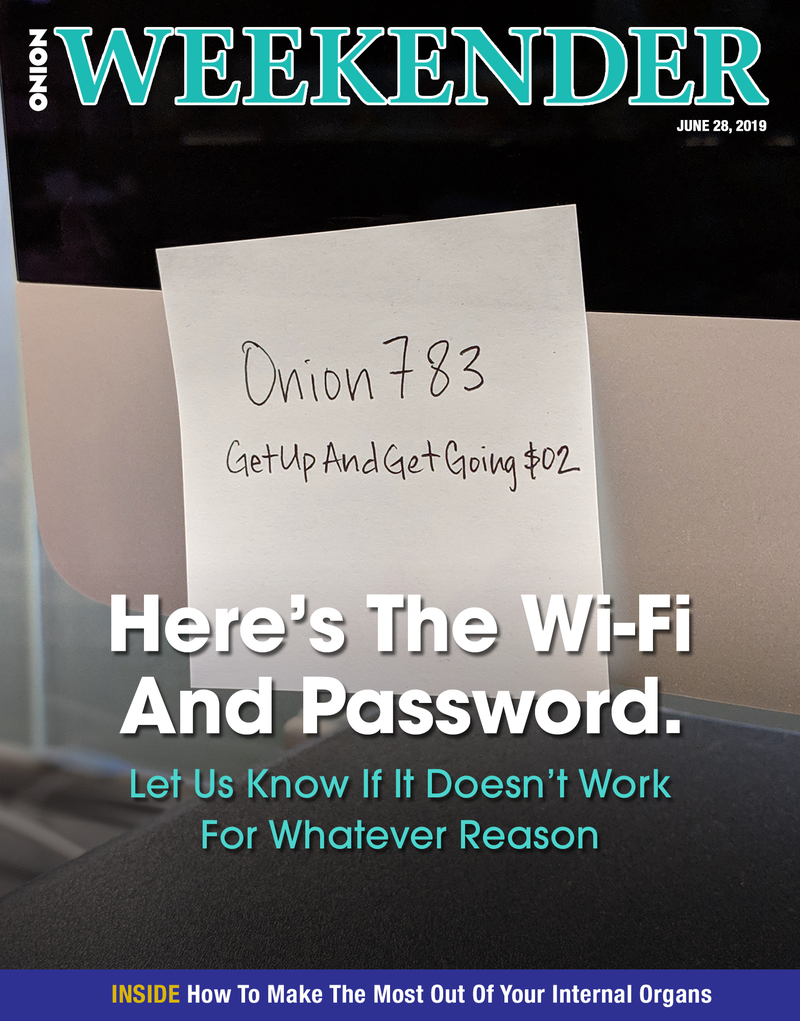Illustration for article titled Here's The Wi-Fi And Password. Let Us Know If It Doesn't Work For Whatever Reason
