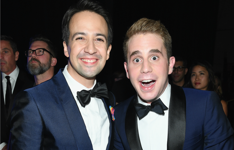 Lin-Manuel Miranda and Dear Evan Hansen lead actor Ben Platt at the 2017 Tony Awards