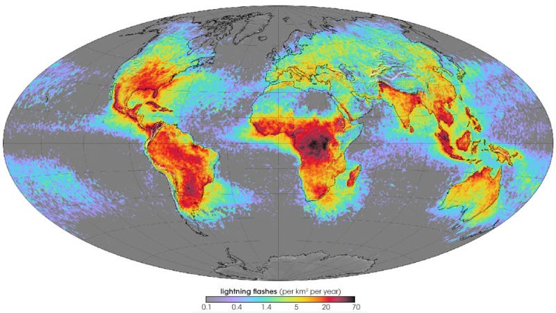 Illustration for article titled A map of where lightning strikes most across the globe