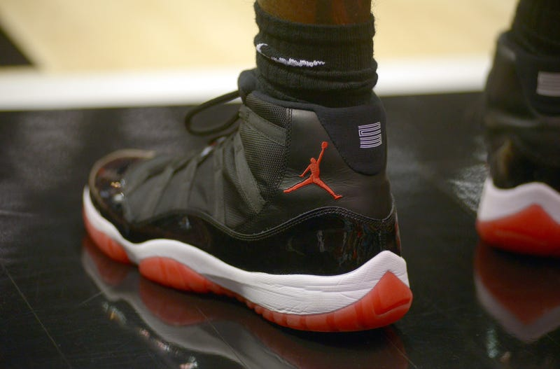 Air Jordan shoes worn by Winston Shepard of the San Diego State Aztecs on Dec. 8, 2013, in San Diego.Kent C. Horner/Getty Images