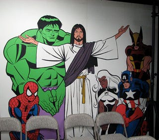Illustration for article titled And now, a mural of Spider-Man, Wolverine, and The Hulk hanging out with Jesus
