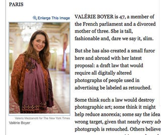 Illustration for article titled Meet Valérie Boyer: Photoshop Critic, Parliament Member, Mom