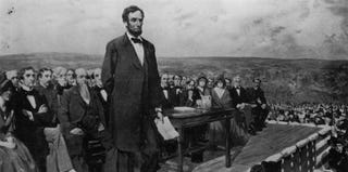 President Abraham Lincoln delivers the Gettysburg Address. (Library of Congress/Getty Images)