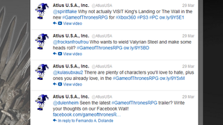 Illustration for article titled Why Is Atlus's Twitter Account a Game of Thrones Spam Bot? [UPDATE]