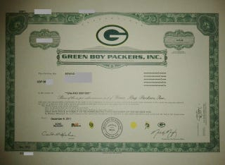 """Illustration for article titled At Least One New Packers Shareholder Received An Official Certificate From The """"Green Boy Packers, Inc."""""""