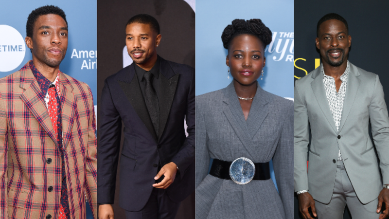 (L-R): Chadwick Boseman attends The Hollywood Reporter's Power 100 Women In Entertainment on December 05, 2018 in Los Angeles, California.; Michael B. Jordan attends the European Premiere of 'Creed II' on November 28, 2018 in London, England.; Lupita Nyong'o attends The Hollywood Reporter's Power 100 Women In Entertainment on December 05, 2018 in Los Angeles, California.; Sterling K. Brown attends the Season 3 Premiere of NBC's 'This Is Us' on September 25, 2018 in Hollywood, California.
