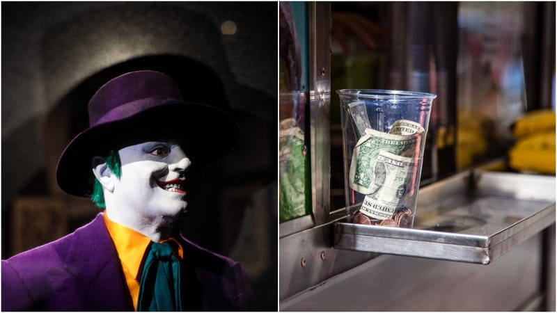 Illustration for article titled Some asshole is running around Toronto dressed as the Joker stealing tip jars